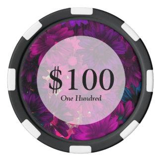 Purple magenta modern floral pattern poker chips