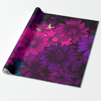 Purple magenta modern floral pattern wrapping paper