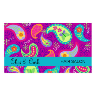 Purple Magenta Turquoise Blue Modern Paisley Pack Of Standard Business Cards