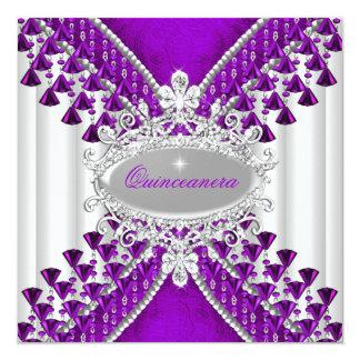 Purple Magenta White Quinceanera Birthday Party 13 Cm X 13 Cm Square Invitation Card