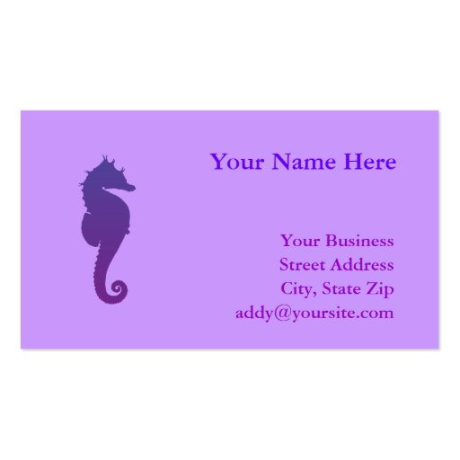 Purple Magic Sea Horse Pack Of Standard Business Cards