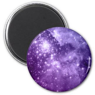 Purple Magic Stars 6 Cm Round Magnet