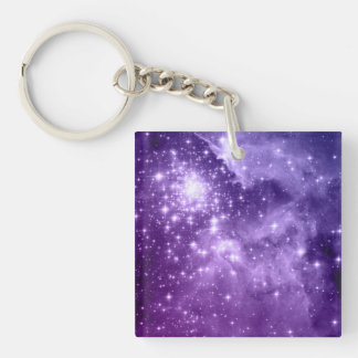 Purple Magic Stars Double-Sided Square Acrylic Key Ring