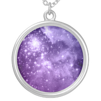 Purple Magic Stars Silver Plated Necklace