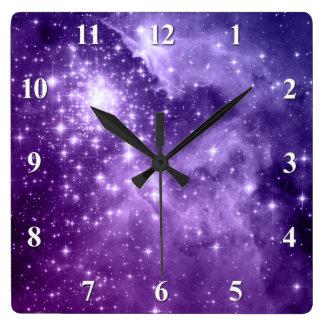 Purple Magic Stars Square Wall Clock