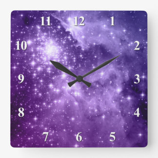 Purple Magic Stars Wall Clocks