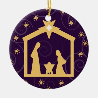 Purple Majesty Christmas Nativity Scene Christmas Ornament