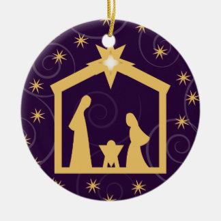 Purple Majesty Christmas Nativity Scene Round Ceramic Decoration