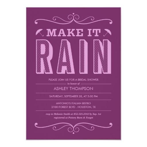 Purple Make it Rain Bridal Shower Invitations