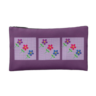 purple makeup bag with flowes