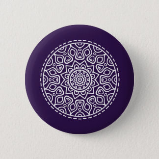 Purple mandala 6 cm round badge
