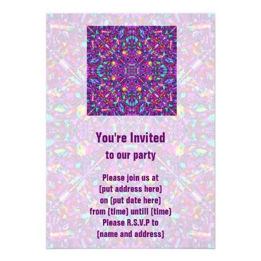 Purple Mandala Hippie Pattern Personalized Invitation