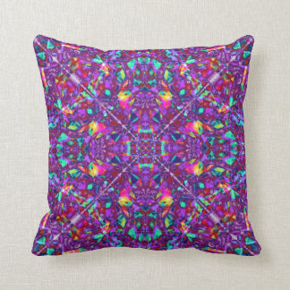 Purple Mandala Hippie Pattern Throw Pillow