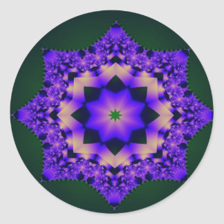 Purple Mandala on Black Classic Round Sticker