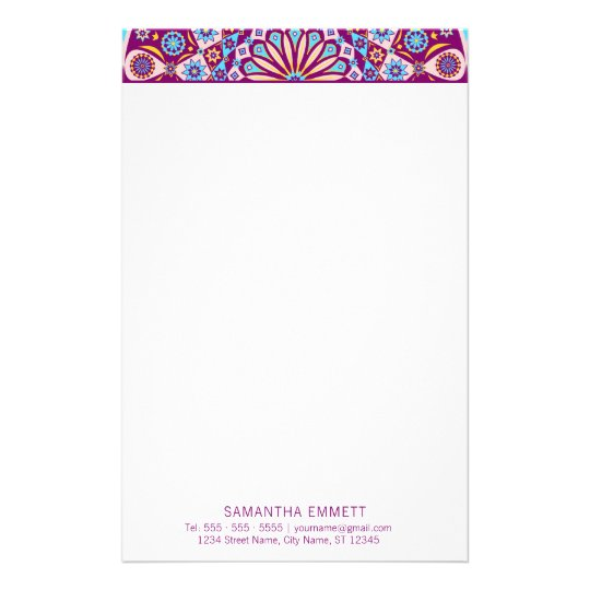 Purple Mandala Professional Modern Stationery