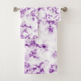 Purple Marble Bath Towel Set