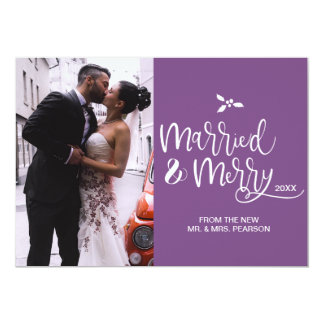 Purple, Married and Merry, Christmas, Photo Card