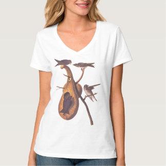 Purple Martin Audubon Bird Family and Gourd Home T-Shirt