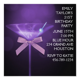 Purple Martini Womans Purple Birthday Party Card