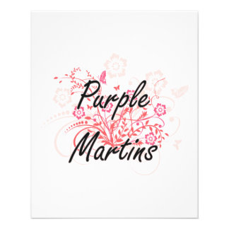 Purple Martins with flowers background 11.5 Cm X 14 Cm Flyer
