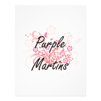 Purple Martins with flowers background 21.5 Cm X 28 Cm Flyer