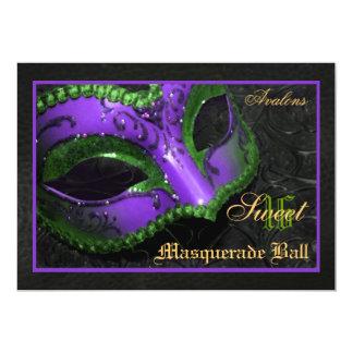 Purple  Mask Masquerade Sweet 16 Party Invitation