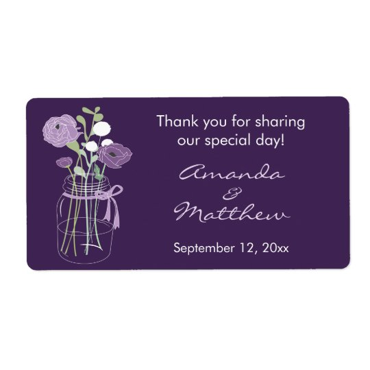 Purple Mason Jar Wedding Favour Labels