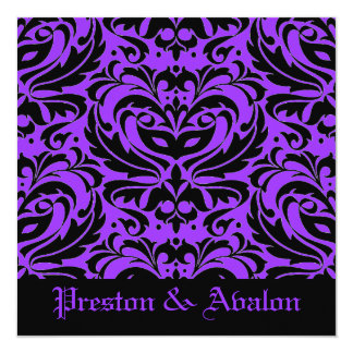 Purple Masquerade Damask Halloween Wedding Card