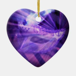 Purple Masquerade Love Ceramic Heart Decoration