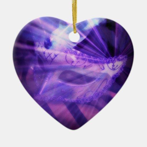 Purple Masquerade Love Double Sided Heart Ceramic