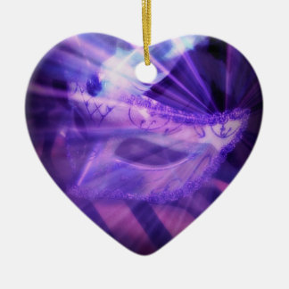 Purple Masquerade Love Double-Sided Heart Ceramic Christmas Ornament