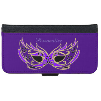 Purple Masquerade Mask iPhone 6 Wallet Case