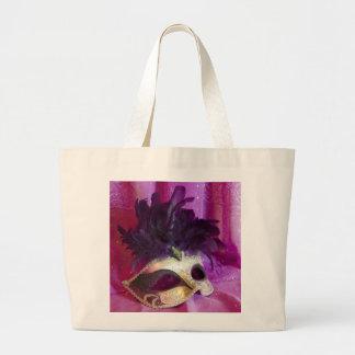 Purple Masquerade Mask Large Tote Bag