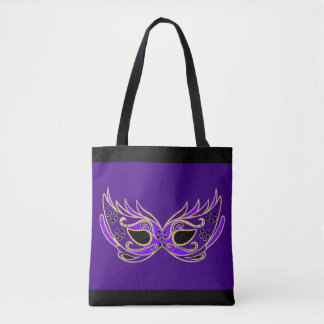 Purple Masquerade Mask Tote Bag