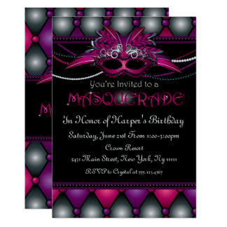 Purple Masquerade Party Invitations