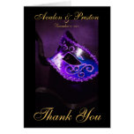 Purple Masqurade Mask Thank You Note Card