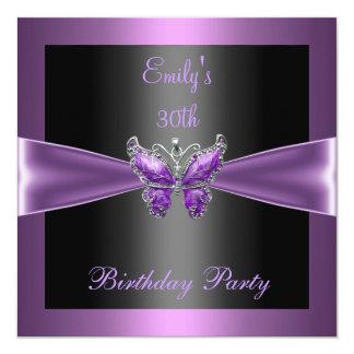 Purple Mauve Black Butterfly 30th Birthday Party 13 Cm X 13 Cm Square Invitation Card