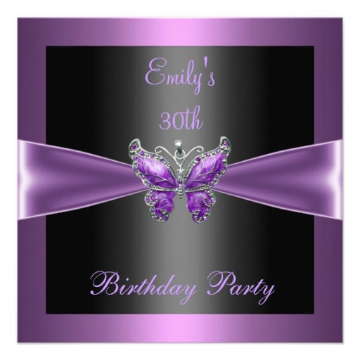 Purple Mauve Black Butterfly 30th Birthday Party Invites