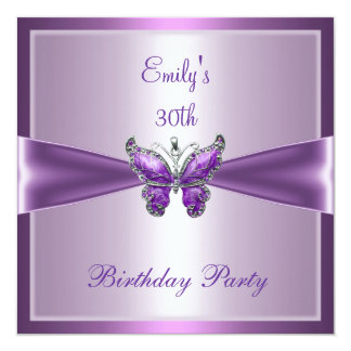 Purple Mauve Butterfly 30th Birthday Party 13 Cm X 13 Cm Square Invitation Card