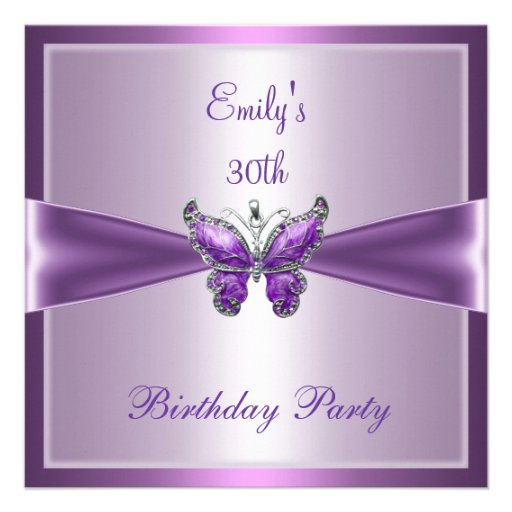 Purple Mauve Butterfly 30th Birthday Party Invitation