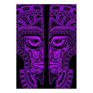 Purple Mayan Twins Mask Illusion on Black Business Card Templates