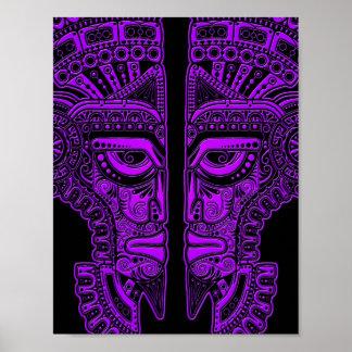 Purple Mayan Twins Mask Illusion on Black Posters