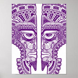 Purple Mayan Twins Mask Illusion on White Posters