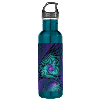 Purple meets Turquoise modern abstract Fractal Art 710 Ml Water Bottle