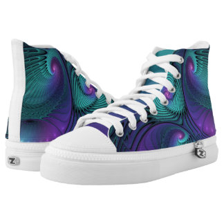 Purple meets Turquoise modern abstract Fractal Art High Tops