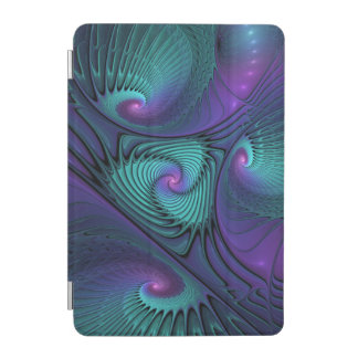 Purple meets Turquoise modern abstract Fractal Art iPad Mini Cover
