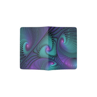 Purple meets Turquoise modern abstract Fractal Art Passport Holder
