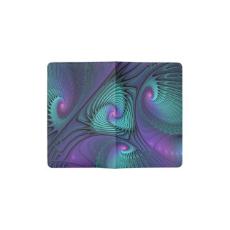 Purple meets Turquoise modern abstract Fractal Art Pocket Moleskine Notebook
