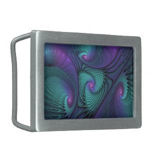 Purple meets Turquoise modern abstract Fractal Art Rectangular Belt Buckles