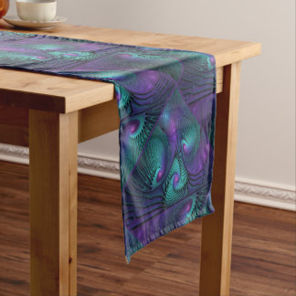 Purple meets Turquoise modern abstract Fractal Art Short Table Runner